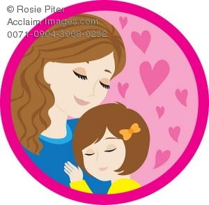 300x294 Clipart Illustration Of A Mother And Her Daughter