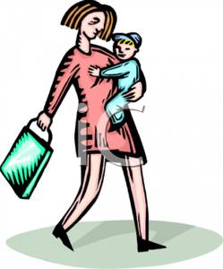 249x300 A Mother Walking And Holding Her Son And Shopping Bag