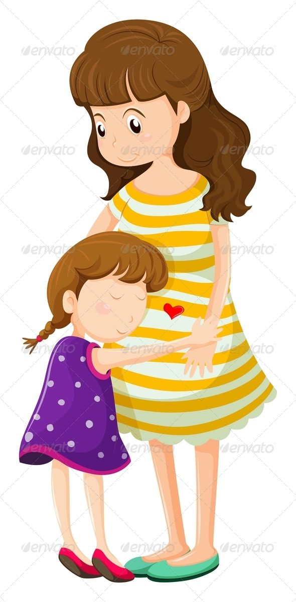 590x1200 Mother And Daughter Hugging Clipart