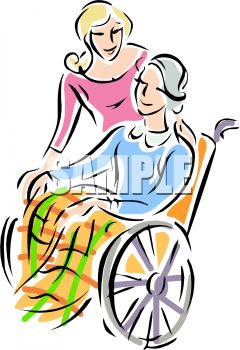 240x350 Adult Daughter With Her Elderly Mother In A Wheelchair