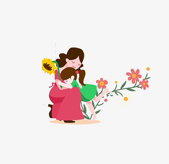 556x540 Cartoon Mother And Daughter, Cartoon, Mother And Daughter, Flowers