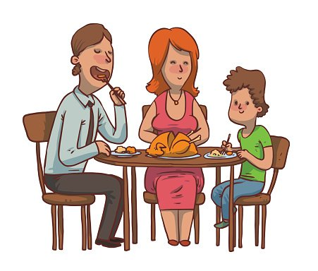 451x384 Family Dinner Father, Mother And Son Eat Fried Chicken Premium