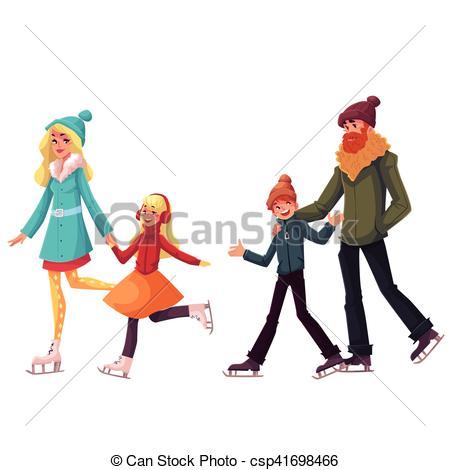 450x470 Happy Family Of Father, Mother, Sister And Son Ice Skating Clip