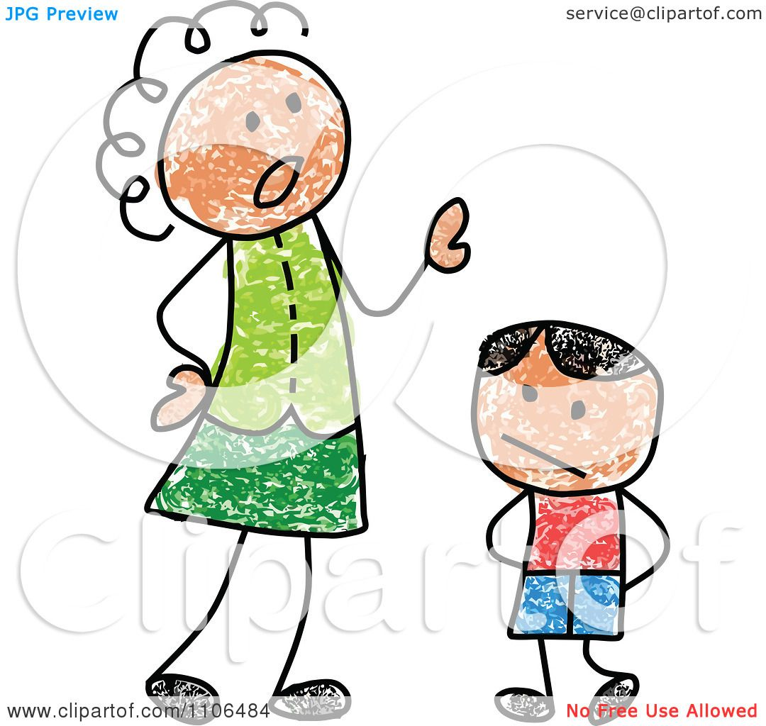 1080x1024 Clipart Stick Drawing Of A Mother Scolding Her Son