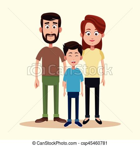 450x470 Father Mother And Son Family Vector Illustration Vector