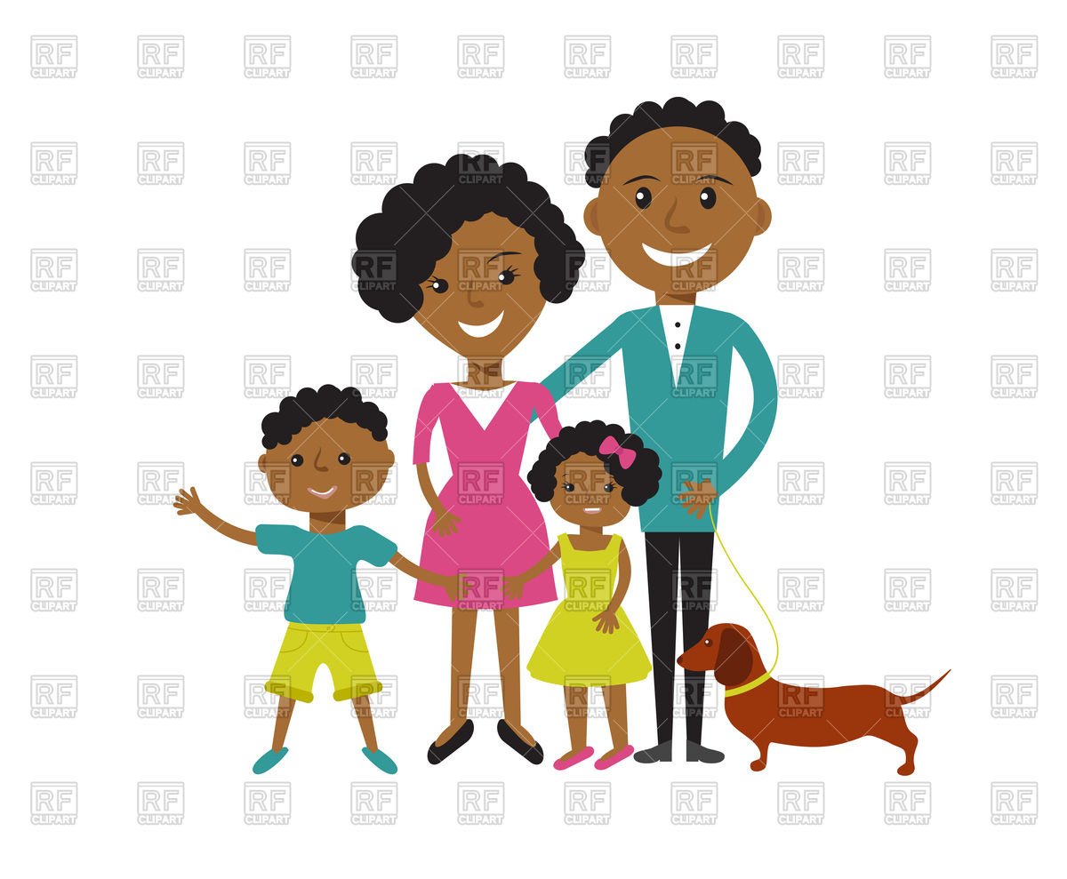 1200x989 Happy African American Family Father, Mother, Son And Daughter