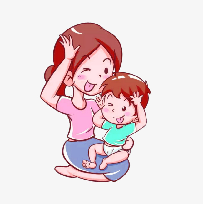 650x651 Pink Cartoon Mother And Child Decoration Patterns, Pink, Cartoon