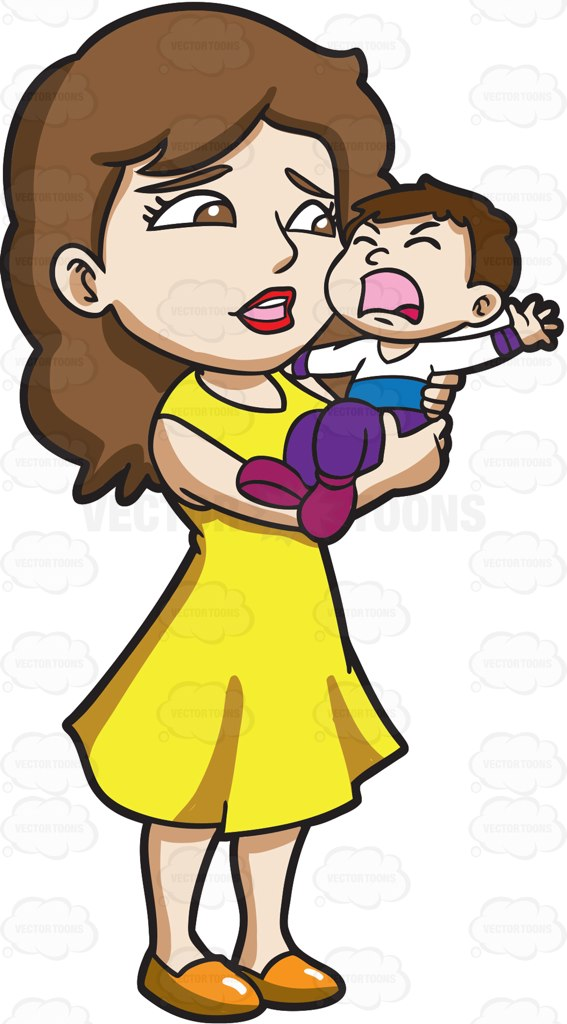 567x1024 A Mom Carrying Her Crying Son Cartoon Clipart Vector Toons