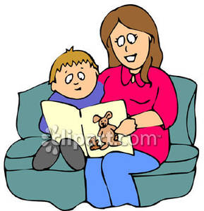 289x300 A Mother And Son Read A Book, Sitting On Couch Royalty Free