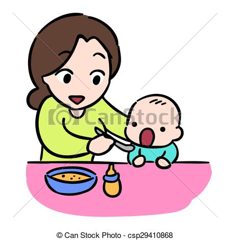 450x470 Mother Feeding Her Baby By Spoon, Isolate Vector Stock Clip Art