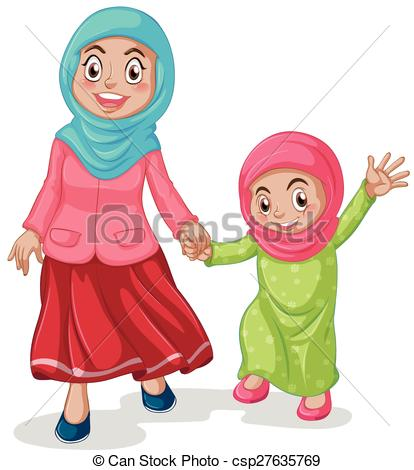 414x470 Muslim Family Mother And Daughter Clip Art Vector