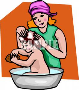 264x300 A Mother Bathing Her Child Clip Art Image