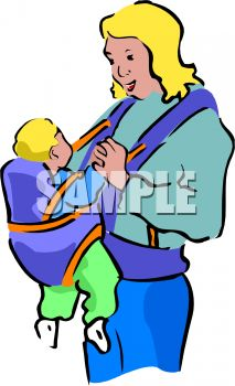 213x350 Royalty Free Clip Art Image Young Mother With Her Baby In A Carrier