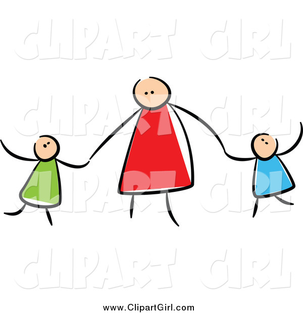 600x620 Clip Art Of A Stick Mother Holding Hands With Her Children By