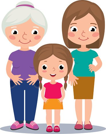 370x467 Grandmother, Mother And Daughter Premium Clipart