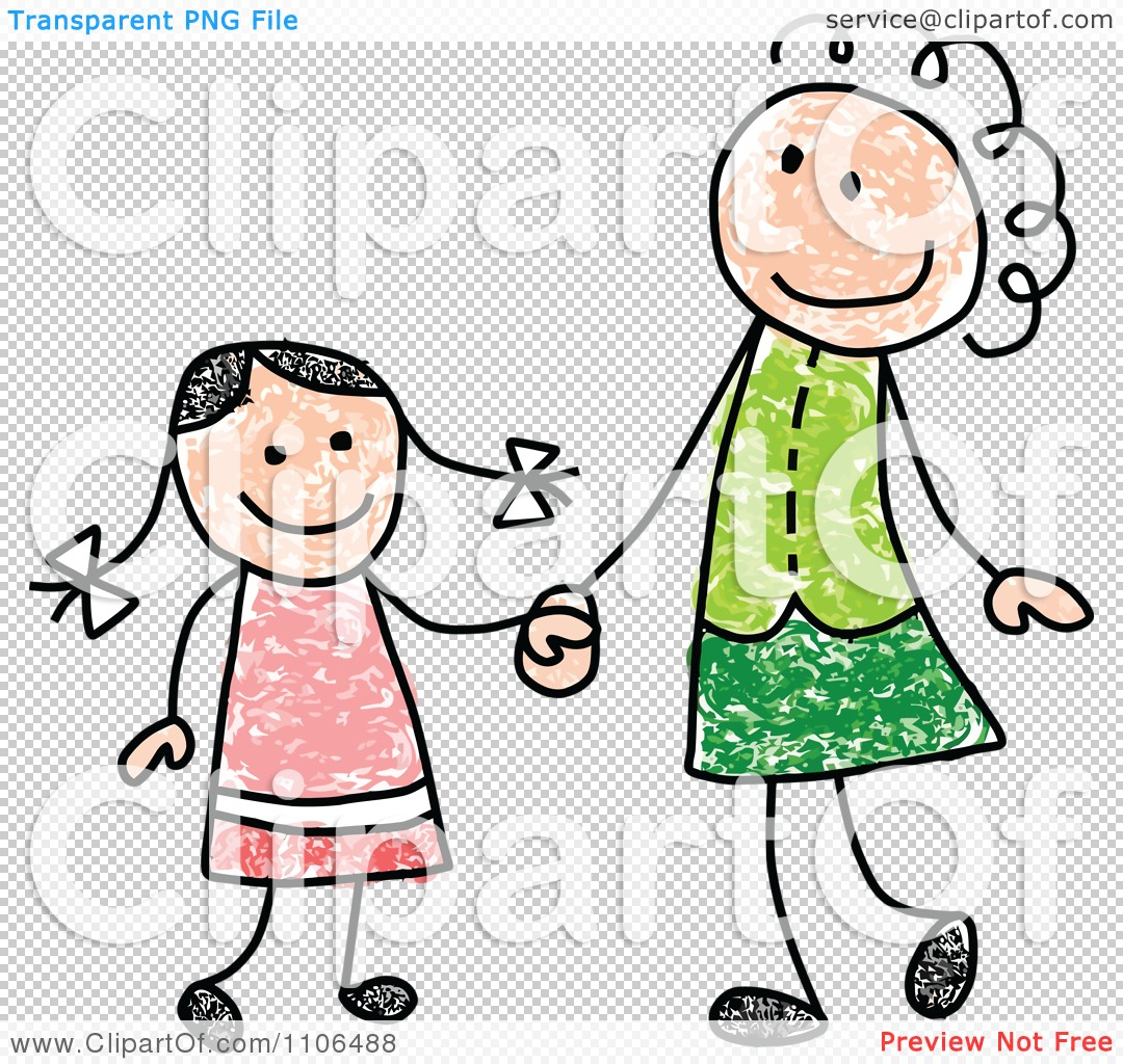 1080x1024 Mother And Daughter Cartoon Drawing