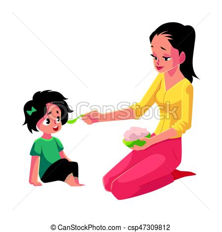 450x470 Mother Spoon Feeding Her Little Daughter Sitting On The Vector