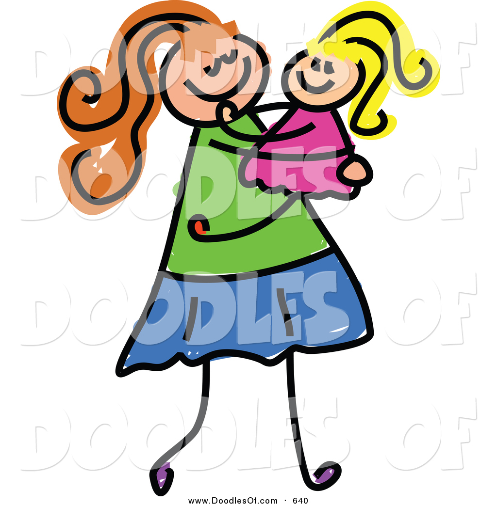 1024x1044 Vector Clipart Of A Doodled White Mom Carrying Her Daughter By