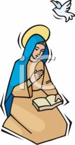 155x300 Clipart Illustration Of Mother Mary And A Dove