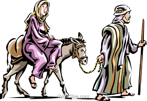 480x333 Mary And Joseph Headed To Bethlehem Royalty Free Vector Clip Art