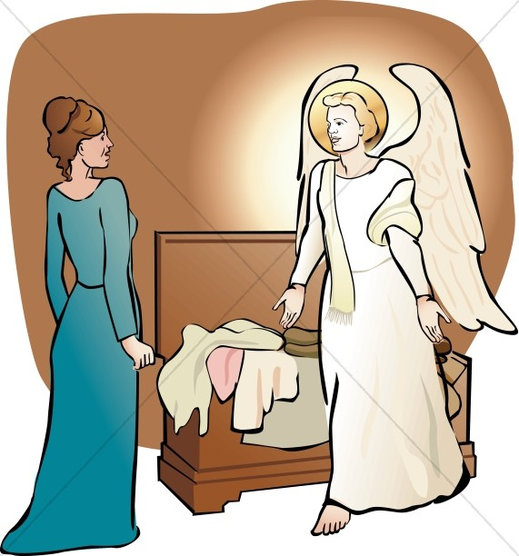 571x612 Mary In Awe Of The Angel Nativity Clipart