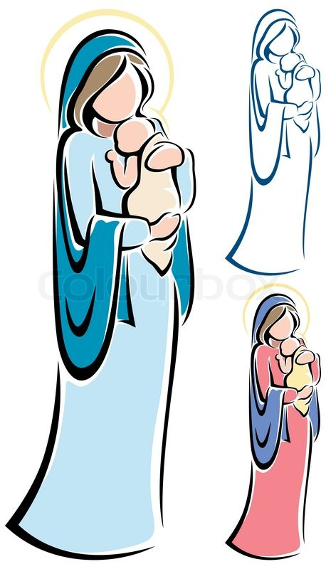 458x800 Virgin Mary And Baby Jesus Stock Vector Colourbox