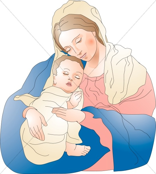 548x612 Baby Jesus Sleeps Peacefully In The Embrace Of Mary Virgin Mary