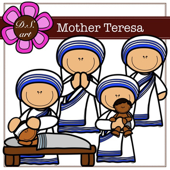350x350 Mother Teresa Digital Clipart (Color And Blackampwhite) By Dsart Tpt