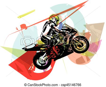450x370 Extreme Abstract Motocross Racer By Motorcycle. Extreme Clip