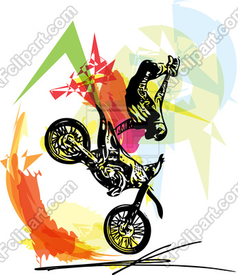 346x400 Extreme Motocross Racer By Motorcycle On Abstract Background