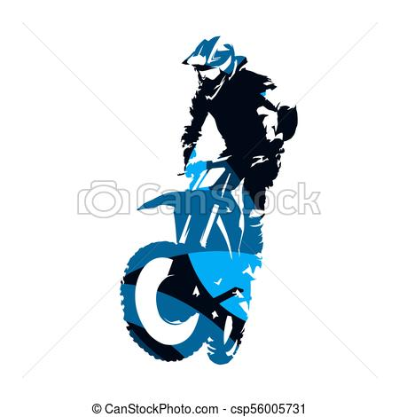450x470 Motocross Racing, Abstract Blue Vector Silhouette Vectors