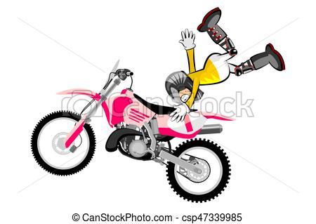 450x319 Motocross Rider Isolated Over White Backgrorund Cartoon