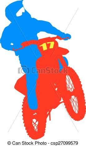 277x470 Black Silhouettes Motocross Rider On A Motorcycle. Vector