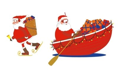 400x253 Santa Claus On A Boat Clipart Amp Santa Claus On A Boat Clip Art