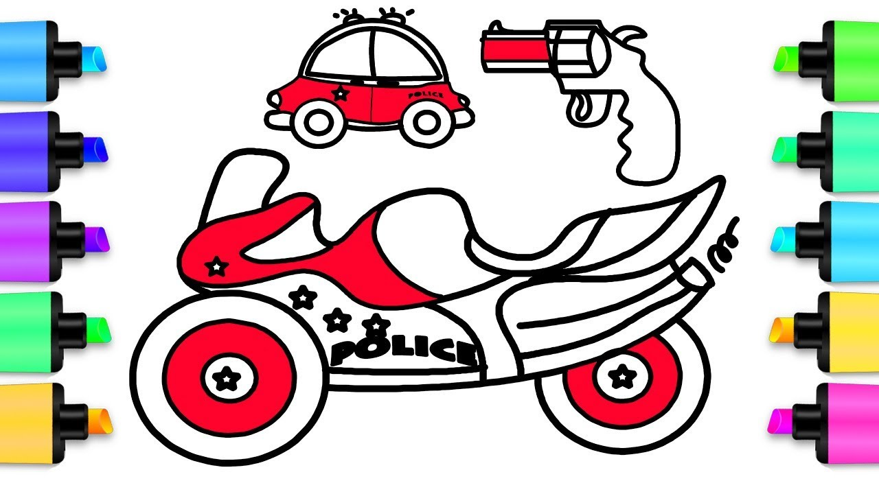 1280x720 How To Draw Police Motorbike Amp Police Car 7 Coloring Pages