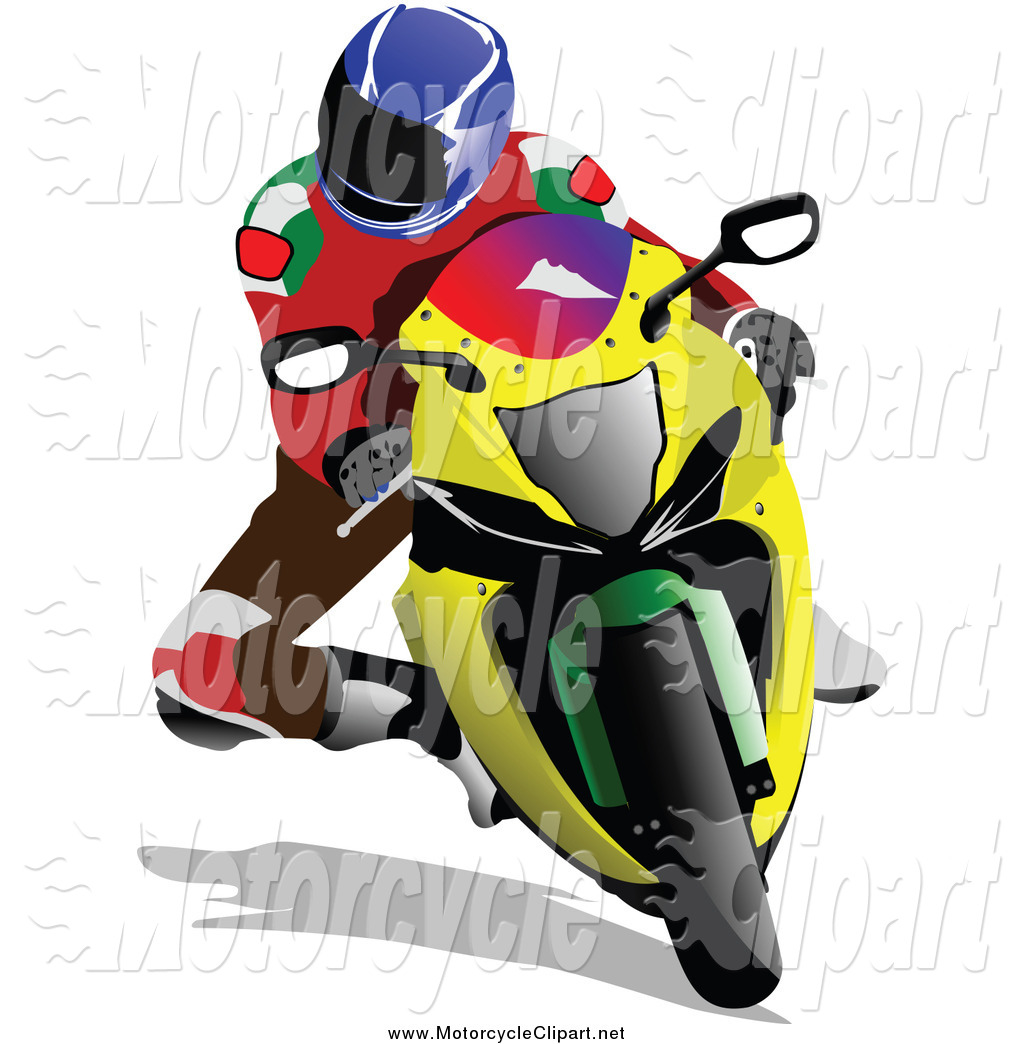 1024x1044 Transportation Clipart Of A Biker Riding A Yellow Motorcycle By