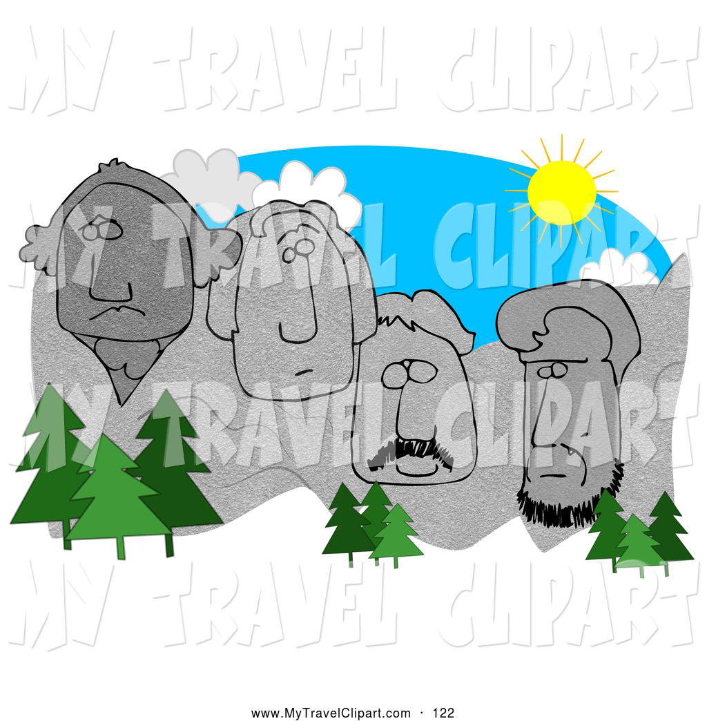1024x1044 Clipart Of A Cluster Of Evergreen Trees In Front Of Mount Rushmore