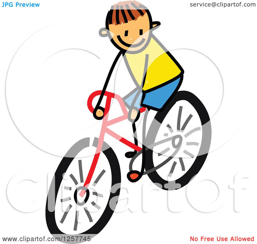1080x1024 Clipart Of A Brunette White Stick Boy Riding A Bike