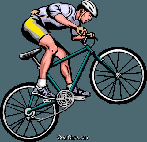 480x465 Man On Mountain Bike Royalty Free Vector Clip Art Illustration