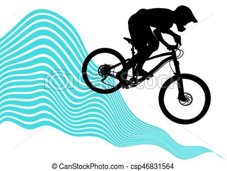 450x338 Silhouette Of A Biker Descending On A Mountain Bike On A Clip
