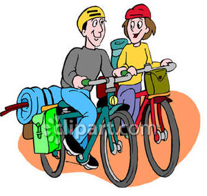 300x284 Two People Ridding Their Mountain Bikes Royalty Free Clipart Picture