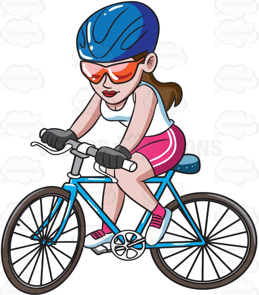 897x1024 A Woman Riding A Mountain Bike Cartoon Clipart Vector Toons