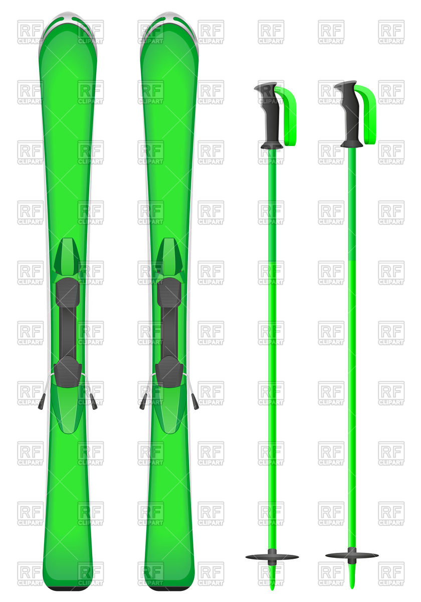 840x1200 Green Mountain Skis And Sticks Royalty Free Vector Clip Art Image
