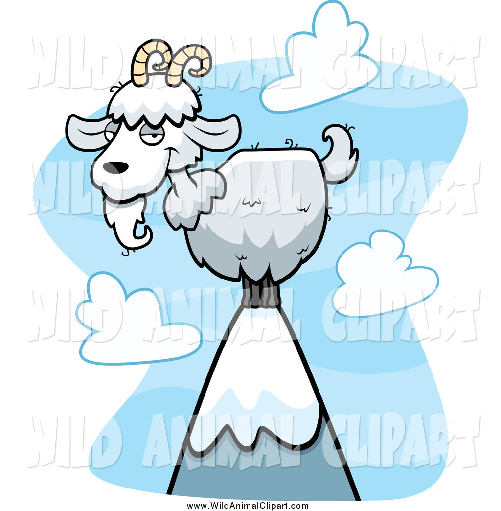 1024x1044 Clip Art Of A White Goat On Top Of A Mountain By Cory Thoman