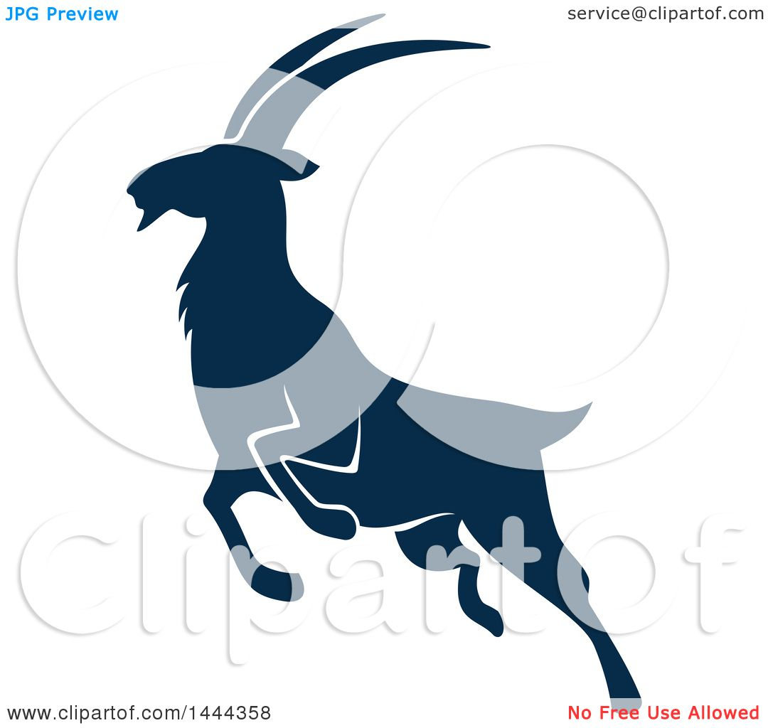 1080x1024 Clipart Of A Navy Blue Mountain Goat With A White Outline