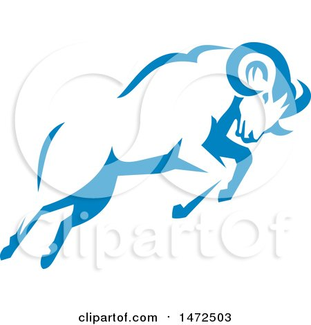 450x470 Clipart Of A Retro Aggressive Mountain Goat Ram In A Yellow Brown