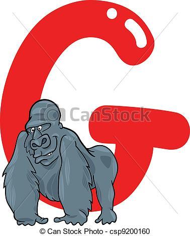 378x470 G For Gorilla. Cartoon Illustration Of G Letter For Gorilla Vector