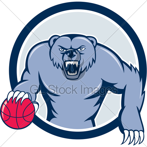 500x500 Grizzly Bear Angry Dribbling Basketball Cartoon Gl Stock Images