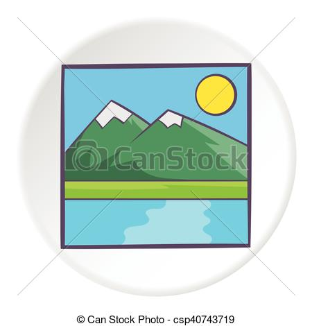450x470 Drawing Mountain Landscape Icon, Cartoon Style. Drawing Vector