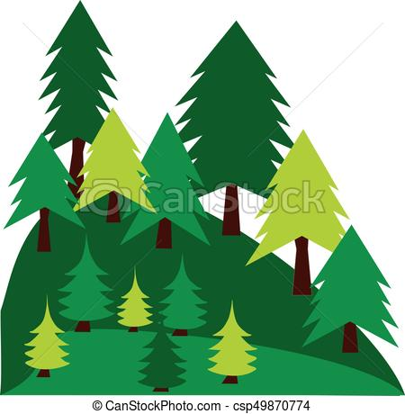 450x460 Mountain Landscape With Pines.vector Graphic. Mountain Vectors